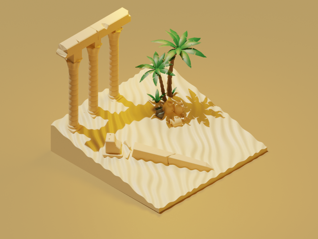 Egyptian ruins low poly