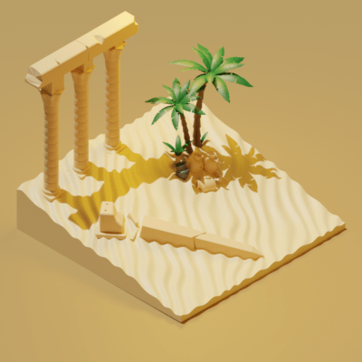 egyptian-ruins-low-poly