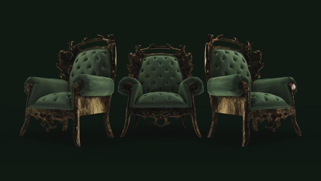 velvet rusted chair