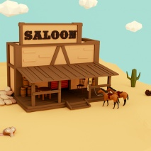 saloon-western-low-poly